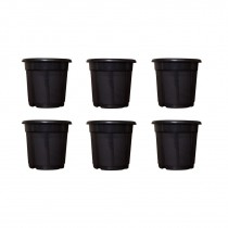 Nursery 6 inch black pots set of 6 for indoor & Outdoor Plant container