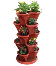 Plastic Stack-A-Pot for Floor Set of 6 with 1 bottom tray
