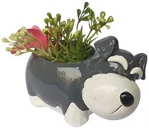 Dog Flower Pots Outdoor Indoor Garden Planters,Resin Flower Pot Succulent Planter Cute Green Plants Flower Pot,Single pc