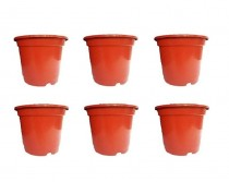 Red nursery pots set of six pieces
