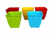 Plastic 4 Inches Diamond Pot Set (Multicolored, 5-Pieces)