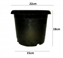 Alkarty 8 Inch Black Nursery Pot