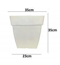 Alkarty 14 Inch White Square Pot For Gardening