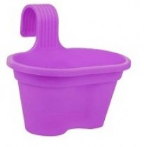 12 Inch Double Railing Planter Pot - color- purple