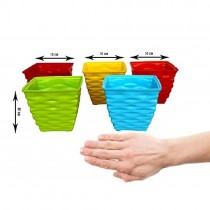 Plastic 4 Inches Diamond Pot Set (Multicolored, 5-Pieces)