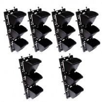 Vertical Wall Garden Hanging 18 Pots (Black, 110BB) - Set of 6